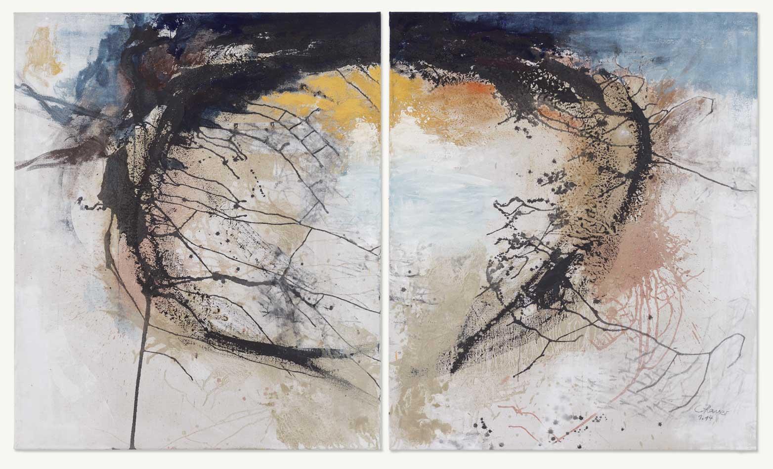2014, Acryl, Pigmente, Sand auf Leinwand, 2-teilig, 120 x 200